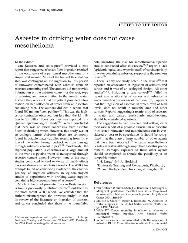 Asbestos in drinking water does not cause mesothelioma